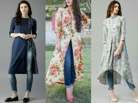 Top Beautiful Kurti/Kurta with jeans | Latest long slit kurta with jeans... - YouTube
