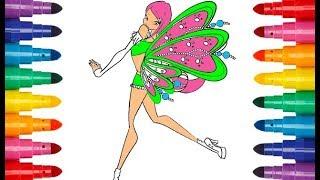 Winx Club Roxy Fairy of animals coloring Клуб Винкс Рокси Фея животных раскраска