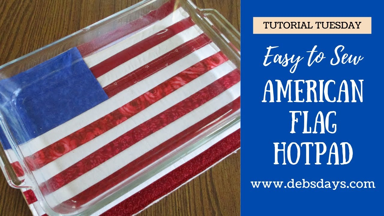 Make an American Flag Large Hotpad with Fabric Strips
