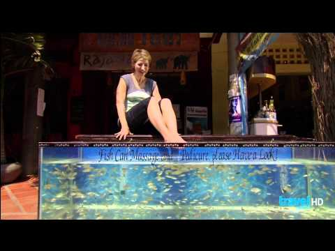 Sam Brown Gets Her Feet Nibbled On In Cambodia