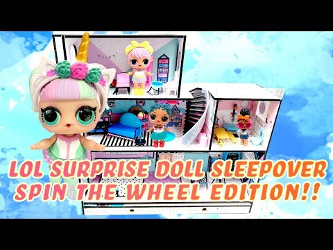 LOL Surprise Dolls Have a Sleepover and Play the Spin the Wheel Game! W/ Unicorn, Coconut QT & Dawn
