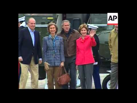King and Queen of Spain arrive at Bush ranch