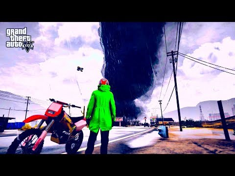 GTA 5 - WORLD'S BIGGEST TORNADO DESTROY LOS SANTOS #59 (REAL LIFE MOD)