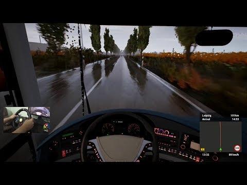 Fernbus Simulator | Lluvia Intensa | De Dresden a Leipzig Alemania