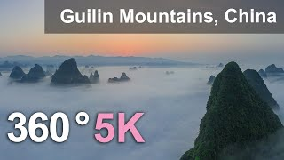 Guilin Mountains, China. Aerial 360 video in 5K