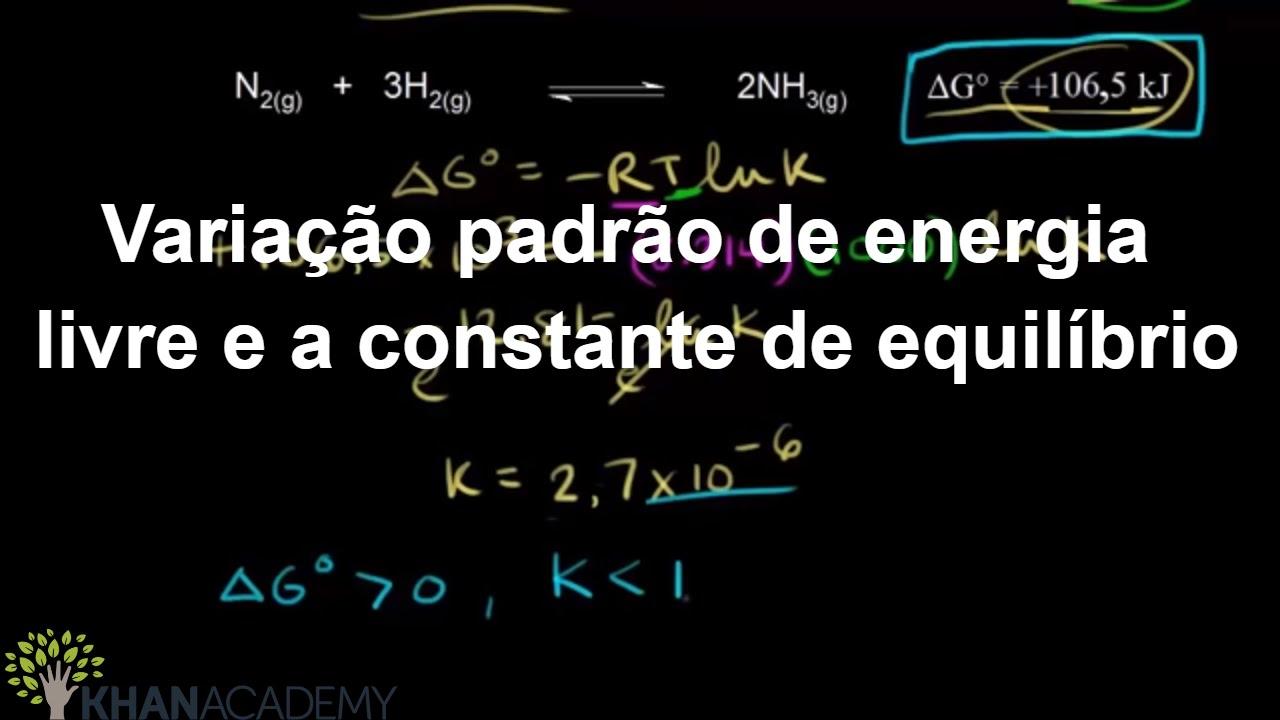 Variação padrão na energia livre e a constante de equilíbrio (vídeo) | Khan  Academy