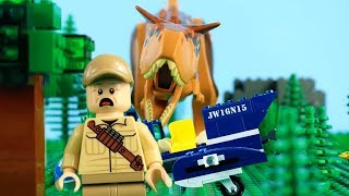 LEGO Jurassic World STOP MOTION LEGO Helicopter Building | LEGO Carnotaurus Attack | Billy Bricks