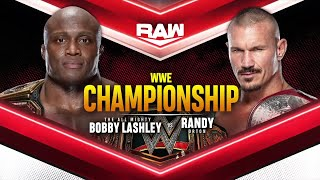 Bobby Lashley will defend his WWE Title against Randy Orton this Monday
