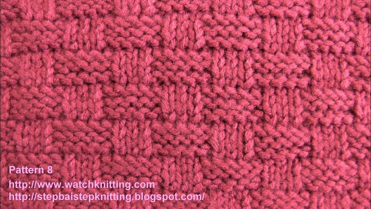 Knitting Stitches Pattern : Basket stitch-Free Knitting Tutorials- Watch Knitting - pattern 8 - YouTube