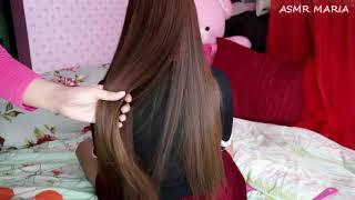 ASMR Hair Brushing On Long Hair Ft Lena