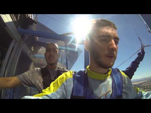 Stratosphere Sky Jump Las Vegas. Guy Scared of heights jumps off.