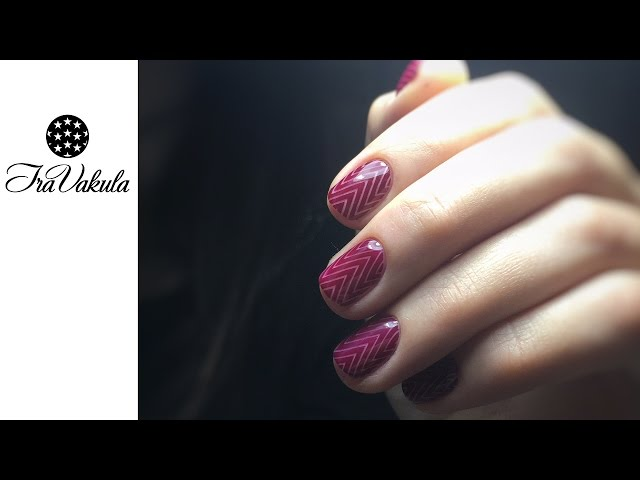 MOYOU stamping manicure - red curved lines Nail Art #Ira Vakula