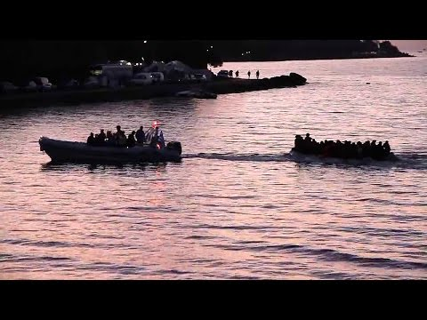 Syrian Refugees arrive Twilight - Lesbos Greece
