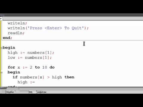 Free Pascal Program Tutorial 22 - Finding The Highest And Lowest Array Element - Lazarus