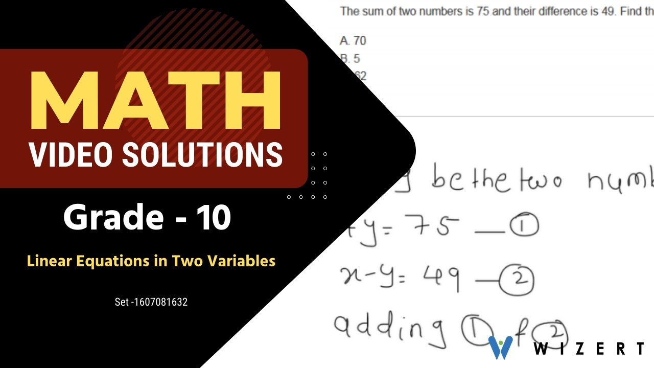 Grade 10 Mathematics Worksheets - Linear Equations In Two Variables  worksheet pdfs - Set 1607081632 - YouTube [ 720 x 1280 Pixel ]