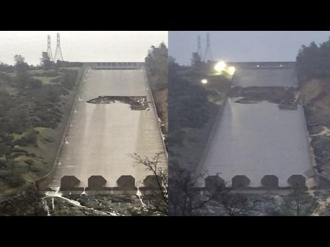 Shocking Footage! (February 12-13) Lake Oroville Dam Spillway Failure Full Coverage