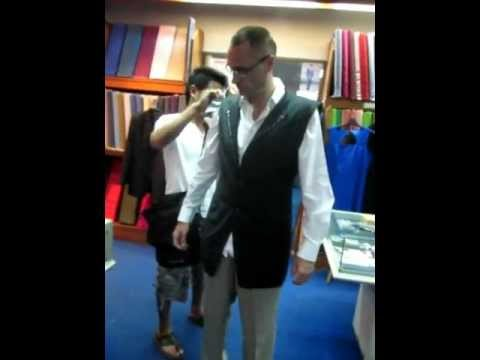 Doug Lawrence being measured up for a tailor made Dinner Jacket Suit at Chiang Mai Tailor in Thailand
