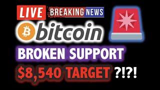 BITCOIN BROKE SUPPORT? $8,540 TARGET?!