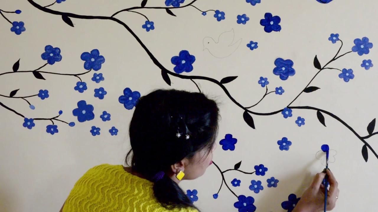 wall flower design beautiful flower design rh youtube com wall flower design vector wall flower design images