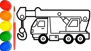 Cara Menggambar Mobil Crane Belajar Mewarnai Gambar Mobil Youtube