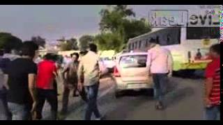Road Rage in India, Bus Driver and Conductor is Beating a Boy Who was not Giving side to Cross the B