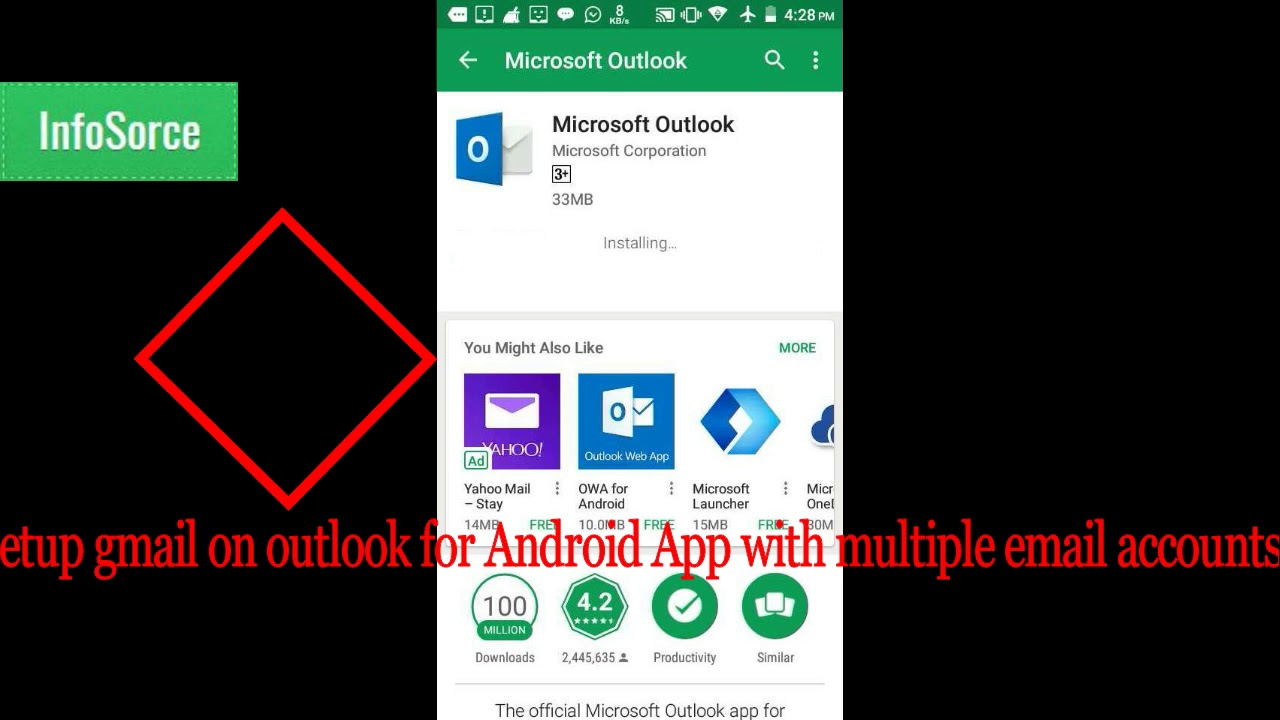 setup Gmail on outlook for Android App with multiple email accounts