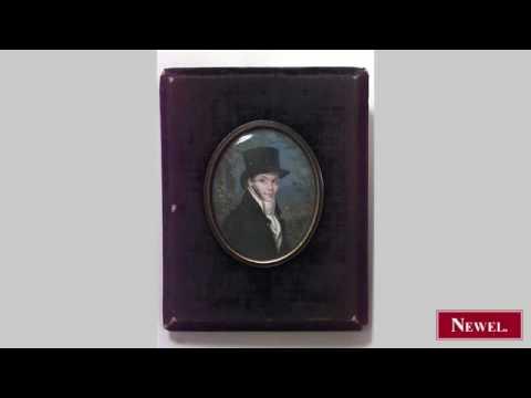 Antique English Victorian oval miniature watercolor portrait