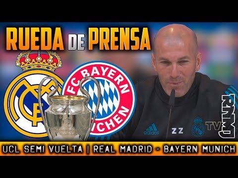 RUEDA DE PRENSA de ZIDANE Previa  : Real Madrid - Bayern Munich