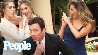 Jimmy Fallon & Sylvester Stallone's Daughters Tease 2017 Golden Globes | People NOW | People