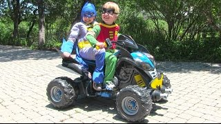 ride on power wheels batman atv unboxing and riding with little superheroes batman and robin