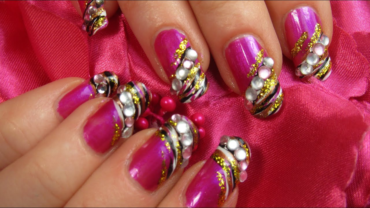 Zebra Print Design For Valentines Day With Hot Pink Gold And Rhinestones Nail Art Tutorial