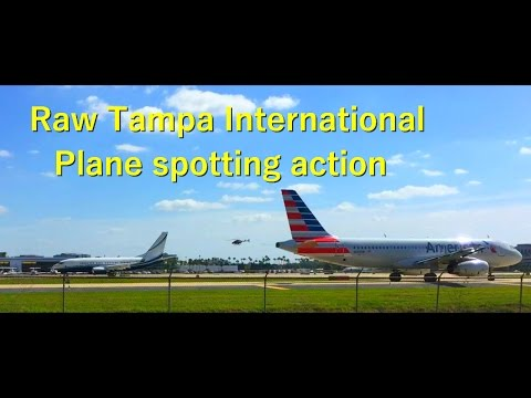 Raw Tampa Plane Spotting Action on Runway 1R  Very Windy.