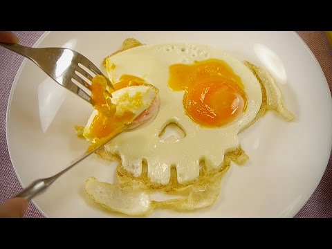 Skull Fried Eggs Bacon Halloween - YouTube