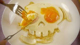 スカル目玉焼き Skull Fried Eggs Bacon ハロウィーン Halloween ハロウィン