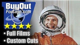 Yuri Gagarin - First Man in Space 1961 Stock Video b-roll