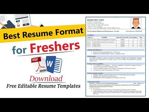 Resume Format For Freshers |Best Resume Format For Freshers | Resume Format For Freshers Engineers