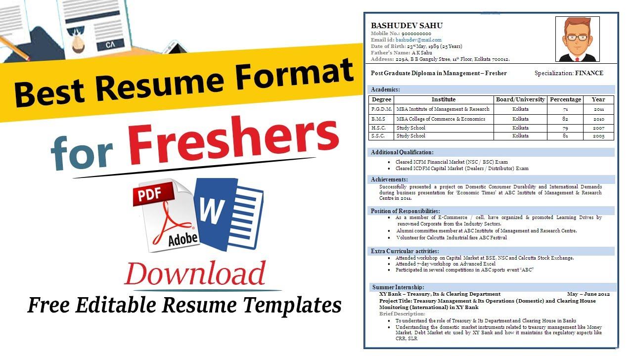Resume Format For Freshers Best Resume Format For Freshers