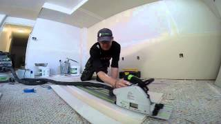 cutting drywall with the festool ts55 track saw i know it sounds crazy