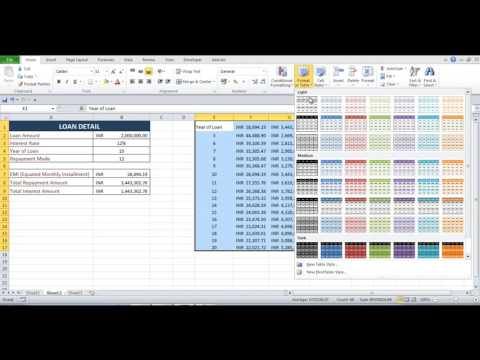 Create EMI Calculator And Loan Table In Excel