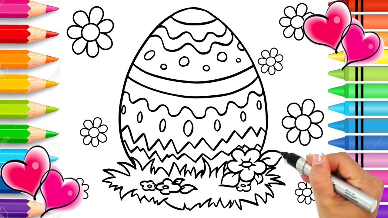 Easter Egg Coloring Page | Easter Coloring Book | Glitter Easter Egg ...