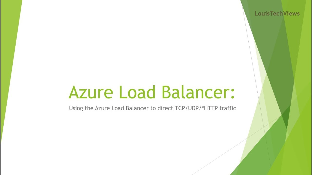 Using the Azure Load Balancer to direct TCP/UDP traffic