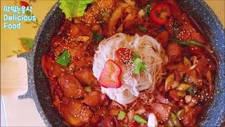 KOR/ENG🥘Stir-Fried Spicy Chicken with NoodlesㅣDelicious Food/매운 닭볶음국수/매운양념닭요리 맛있는음식가족요리 ASMR include