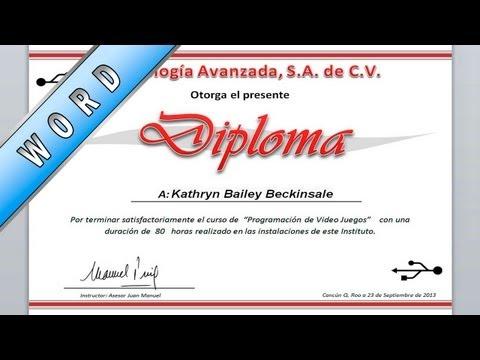 Tutorial de Word - Como hacer un diploma paso a paso - Asesor Juan Manuel