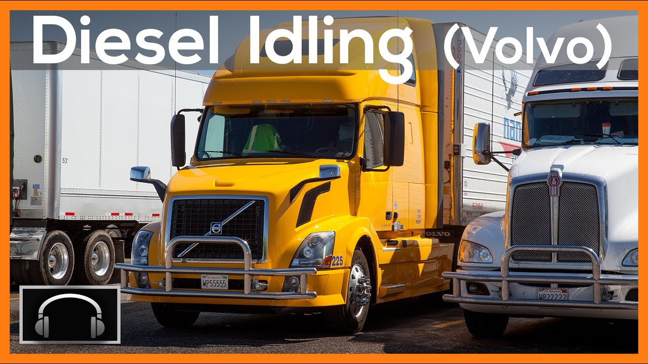 ►10 Hours of Diesel Truck Idling: Yellow Volvo, Semi truck sounds #3,  engine sounds ASMR