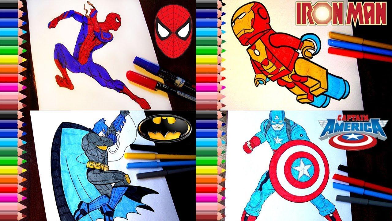Spiderman Batman Captain America Ironman Coloring Pages