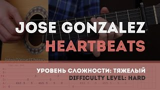 Как играть на гитаре Jose Gonzalez - Heartbeats (Guitar tutorial)