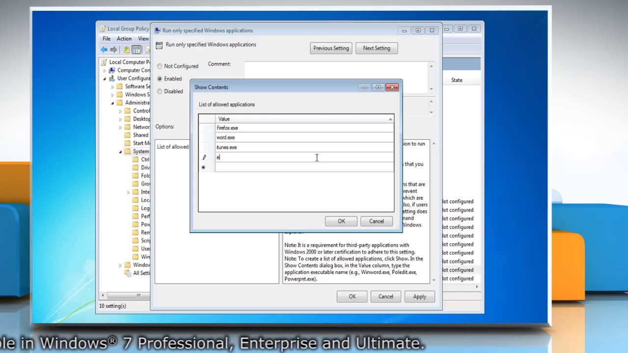 How to Allow users to run only specific programs on Windows® 7
