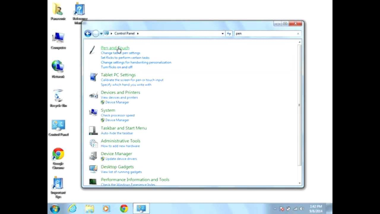How to disable touch screen on windows 7