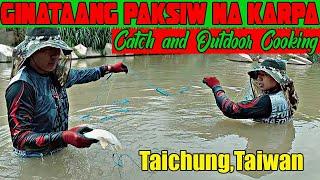 Catch and Outdoor Cooking Daming Silver Carp sa ilog na ito NET FISHING