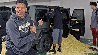 Giannis Antetokounmpo Pranks Bucks Rookie With Popcorn Filled Car